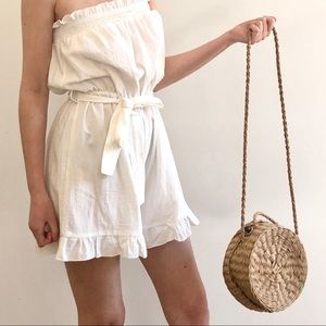 STRAW ROUND CROSSBODY BAG WITH TOP HANDLE